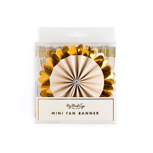 Mini Fan Banner Party Decoration - Gold