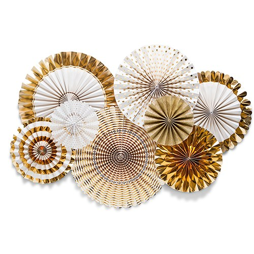 Assorted Gold Foil Paper Party Fans