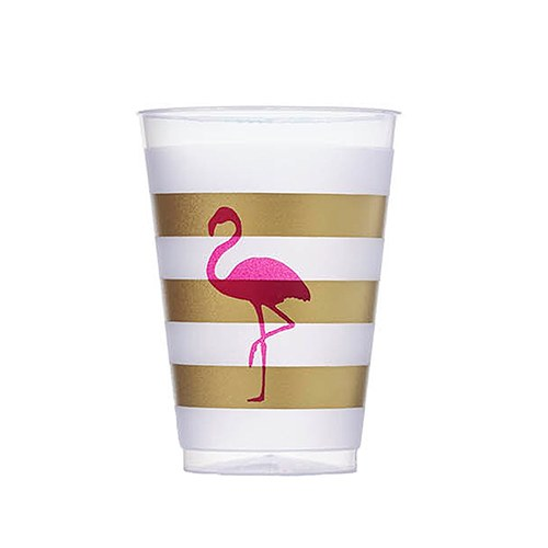 Pink Flamingo Frosted Plastic Cups