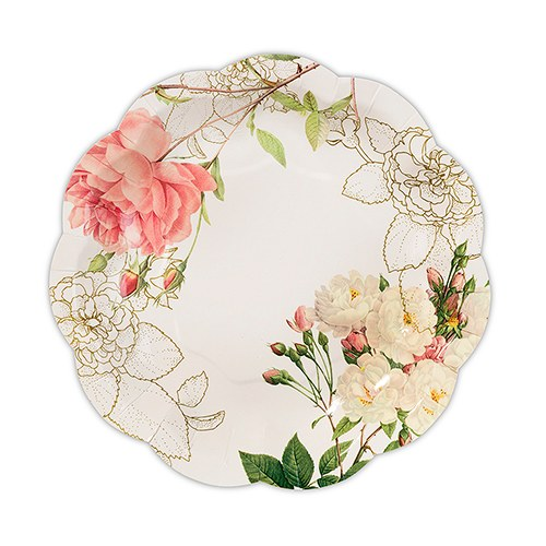 Pink Rose Floral Print Paper Plates  sc 1 st  The Knot Shop & Partyware Floral Paper Plates - The Knot Shop
