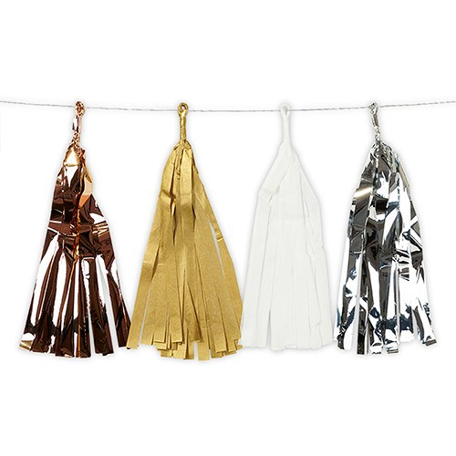 Mixed Metallic Tissue & Foil Tassel Garland - Gold  Silver  Copper  White
