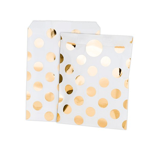 Gold Foil Polka Dot Paper Treat Bags with Stickers