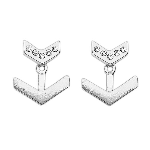 Silver Earring Jackets – Sparkling Crystal Chevrons