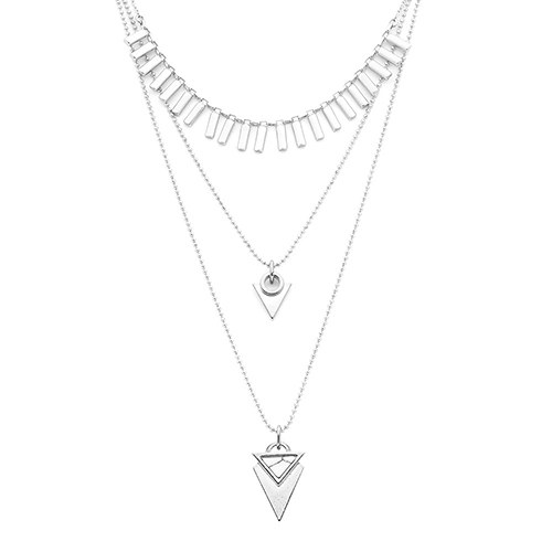 Convertible 3 Piece Layered Necklace - Silver
