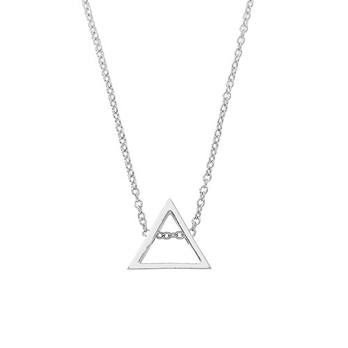 Modern Triangle Necklace - Silver