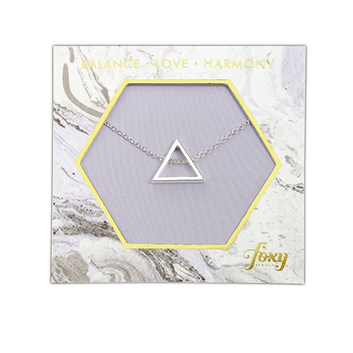 Fine Silver Charm Necklace – Simple Triangle Frame