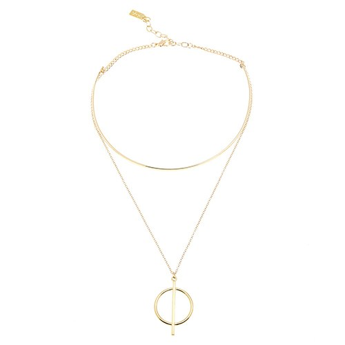 Circular 2 in 1 Choker Necklace - Gold
