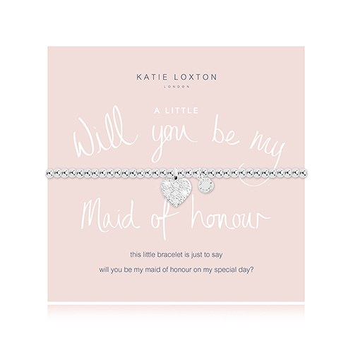 Will You Be My Maid of Honour Silver Bracelet with Heart Charm