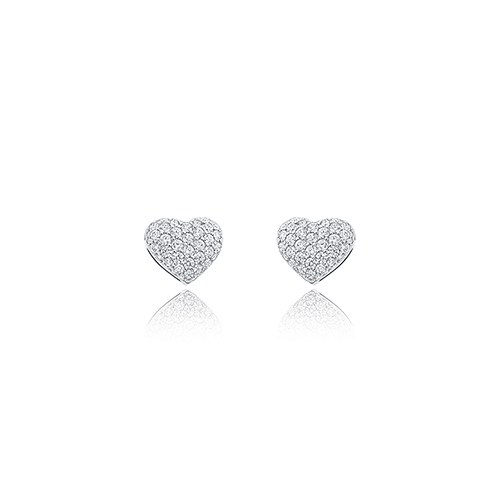 Silver Heart Stud Earrings – Sparkling Crystals