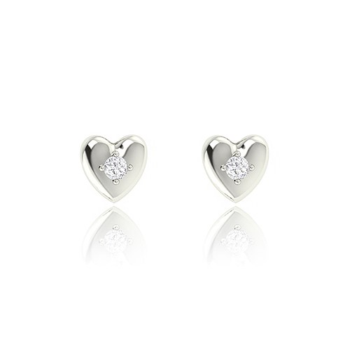 Silver Heart Stud Earrings – Centered Crystal