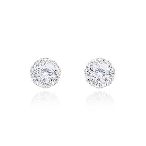 Classic Round Stud Earrings – Clear Crystal