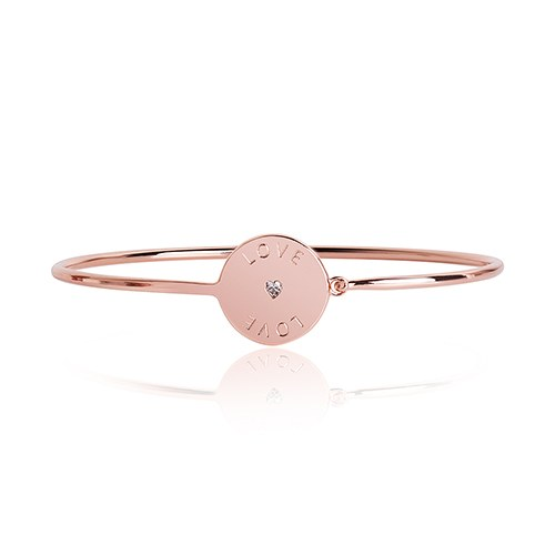 Rose Gold Bangle Bracelet Engraved Love with Crystal Rhinestone