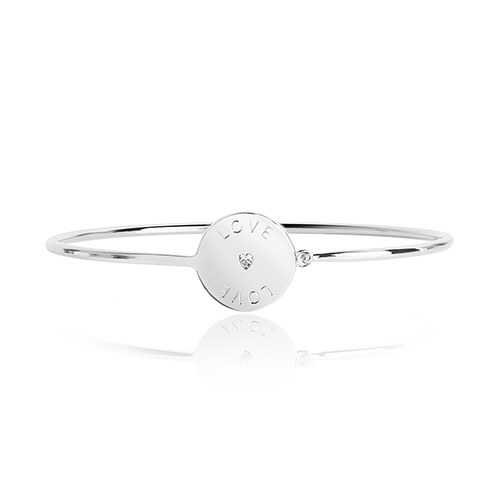Silver Bangle Bracelet Engraved Love with Crystal Rhinestone