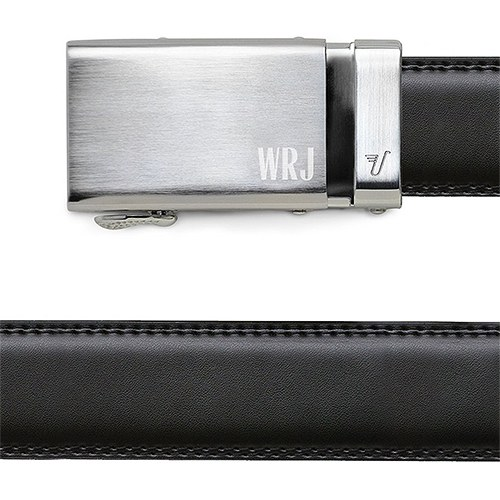 Men's Black Leather Belt - Monogrammed Silver Buckle