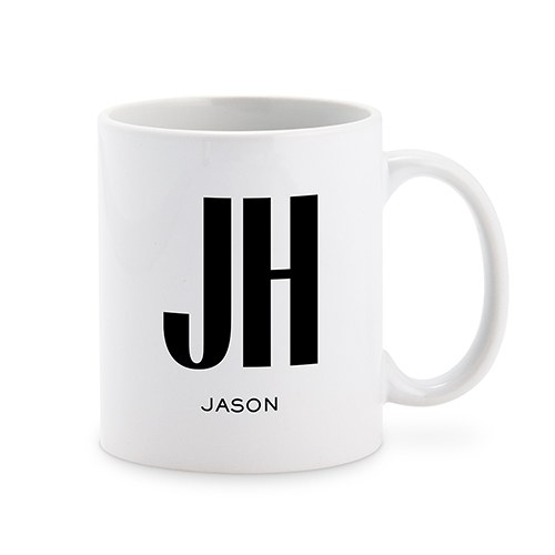 Custom White Ceramic Coffee Mug – Sans Serif Monogram Print