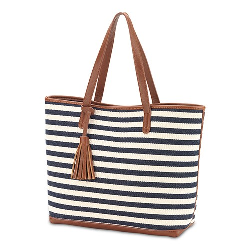 Shoulder Bag Tote - Navy And White Stripe Knit