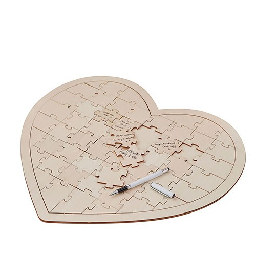 Wooden Heart Jigsaw Wedding Guest Book
