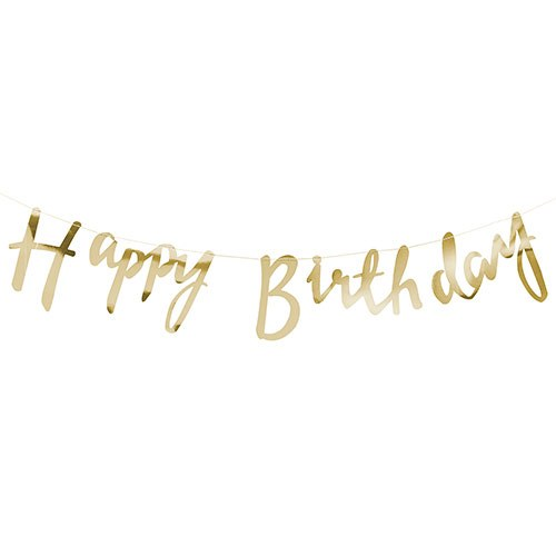 happy birthday banner gold metallic the knot shop