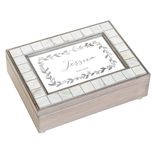 Large Personalized Luxury Pearl Music Box – Silver Botanical Wreath Foil Print