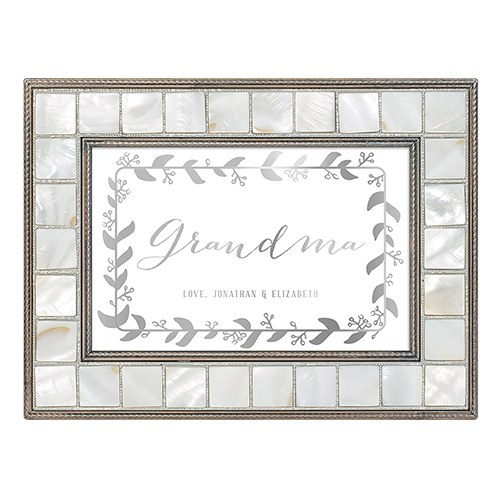 Luxury Pearl Music Box - Botanical Wreath Foiled Print - Grandmother
