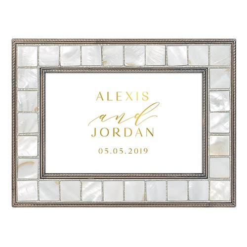 Large Personalized Luxury Pearl Music Box – Gold Modern Couple Foil Print