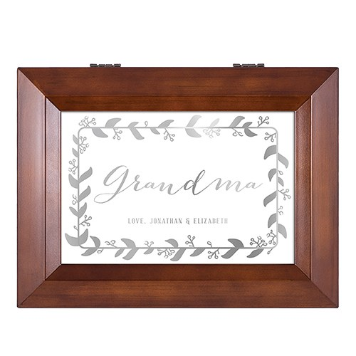 Wooden Music Box - Botanical Wreath Foiled Print - Grandmother