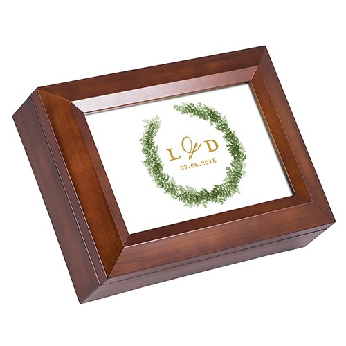 Large Personalized Wooden Music Box - Love Wreath Print