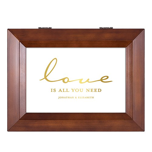 Large Personalized Wooden Music Box – Gold Love is All You Need Foil Print