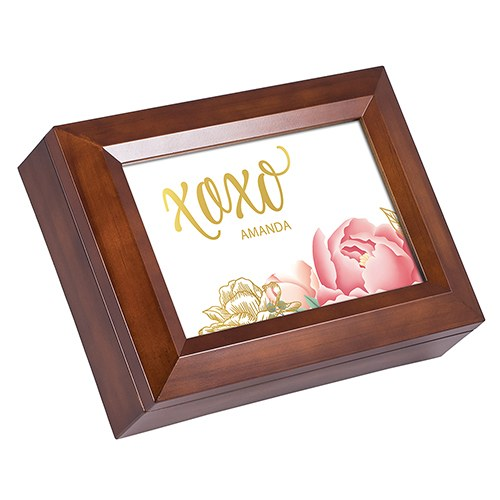 Large Personalized Wooden Music Box – Gold Modern Floral Foil Print
