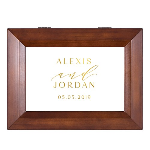 Large Personalized Wooden Music Box - Gold Modern Couple Foil Print