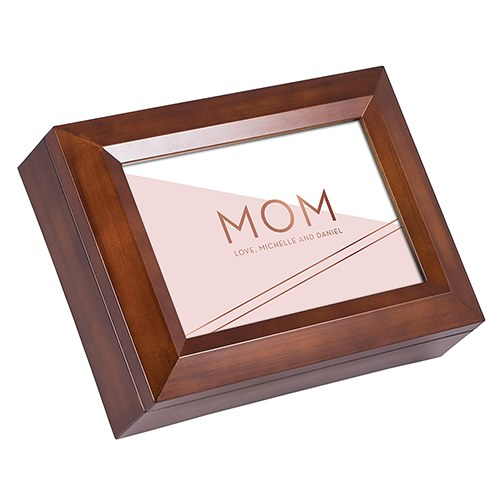 Large Personalized Wooden Music Box - Rose Pink Mom Foil Print