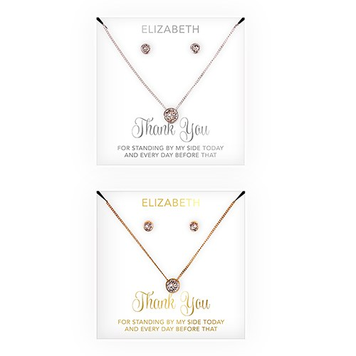 Swarovski Crystal Earring & Solitaire Necklace Set - Thank You Cursive