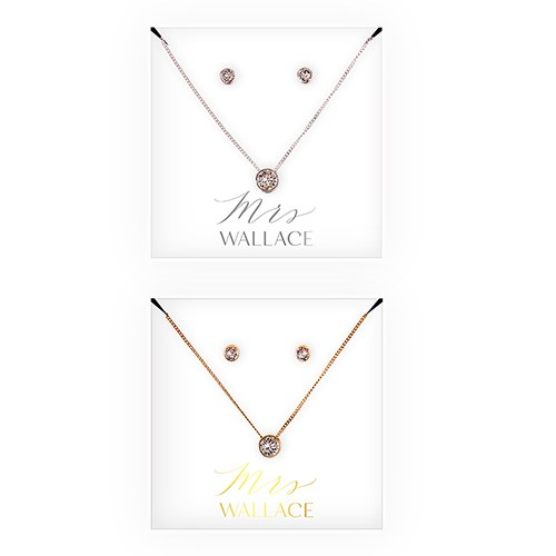 Personalized Bridal Party Crystal Jewelry Gift Set – Mrs.