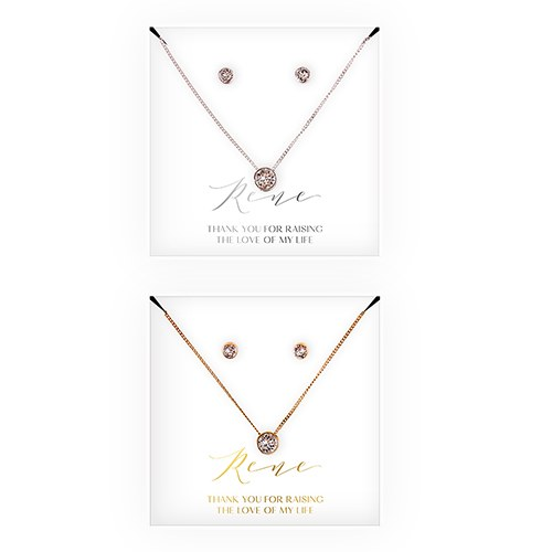 Personalized Bridal Party Crystal Jewelry Gift Set – Mother-In-Law