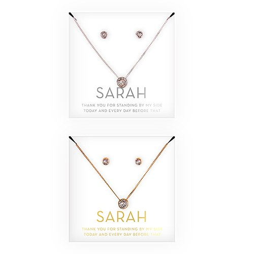 Swarovski Crystal Earring & Solitaire Necklace Set - Thank You