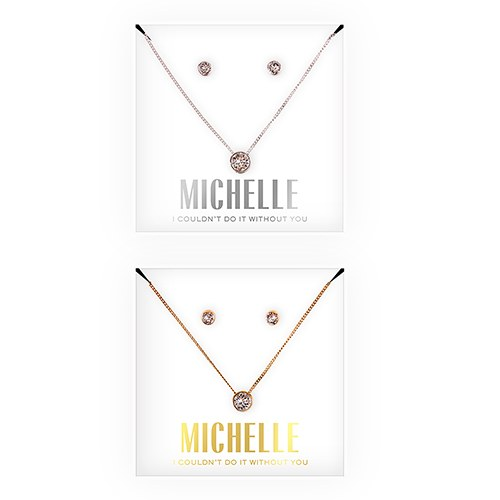 Personalized Bridal Party Crystal Jewelry Gift Set – Couldn't Do it Without You