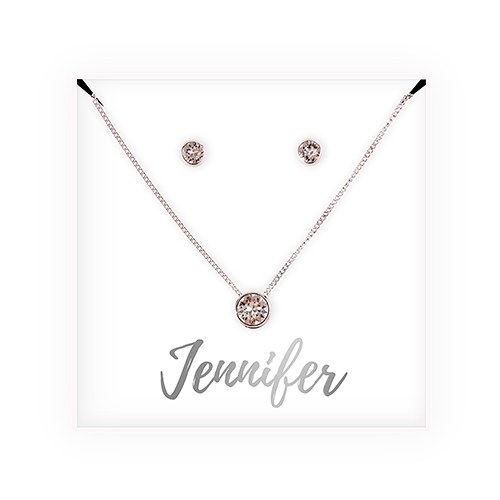 Personalized Bridal Party Crystal Jewelry GiftSet – Cursive Font