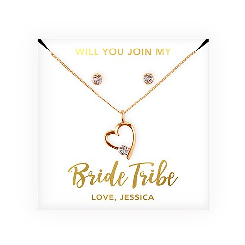 Personalized Bridal Party Heart & Crystal Jewelry Gift Set - Bride Tribe