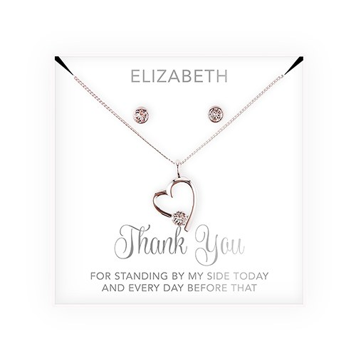 Swarovski Crystal Earring & Heart Necklace Set - Thank You Cursive