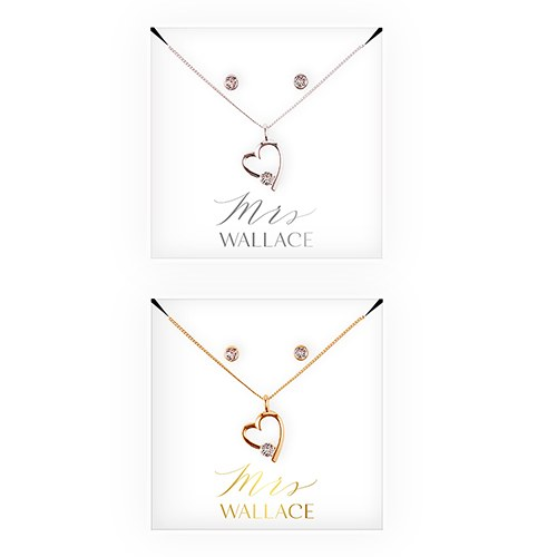 Personalized Bridal Party Heart & Crystal Jewelry Gift Set – Mrs.