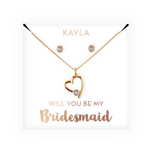 Personalized Bridal Party Heart &Crystal Jewelry Gift Set – Be My Bridesmaid?