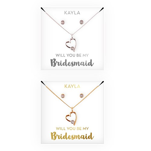 Personalized Bridal Party Heart &Crystal Jewelry Gift Set - Be My Bridesmaid?