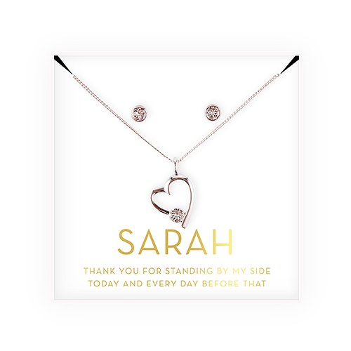 Personalized Bridal Party Heart & CrystalJewelry Gift Set – Thank You