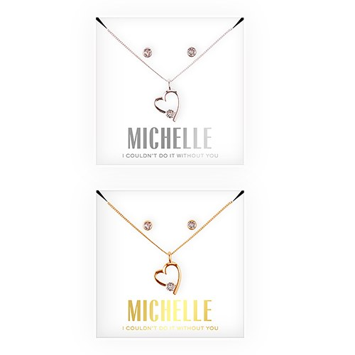 Personalized Bridal Party Heart & Crystal Jewelry Gift Set – Couldn't Do It Without You