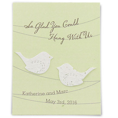 Seed paper love birds personalized favor card the knot shop mightylinksfo