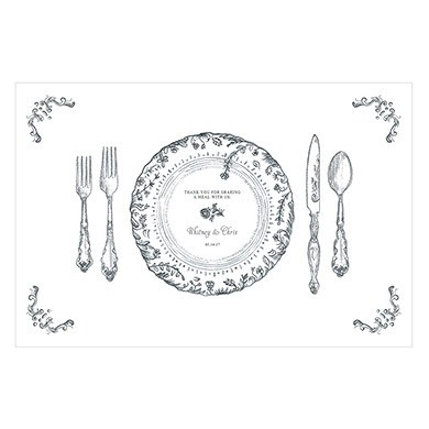 Antique Chic Personalised Paper Place Mat  Table Setting