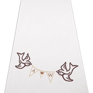 Image of Birds with Love Pennant Personalised Aisle Runner - Plain White