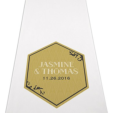 Image of Black and Gold Opulence Personalised Aisle Runner - Plain White