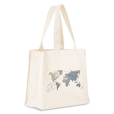 Custom Personalized White Cotton Canvas Fabric Tote Bag World Map