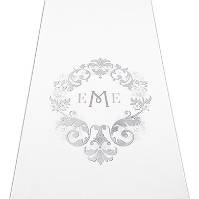 Monogram Simplicity Personalised Aisle Runner - White With Hearts